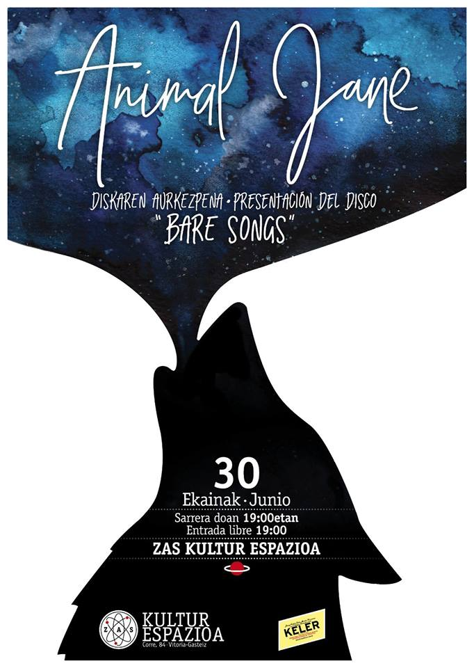 """Bare songs"" de Animal Jane. Jueves 30 de junio a las 19:00 h."