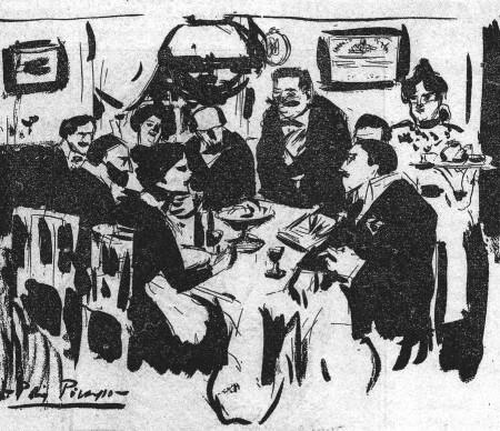 Tertulia de artistas por Pablo Picasso.